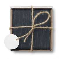 Square Slate Coaster Set of 4 - Natural Rustic Shabby Chic Home Décor in a Gift Box